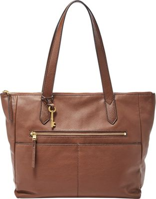 Fossil Fiona EW Tote Medium Brown - Fossil Leather Handbags