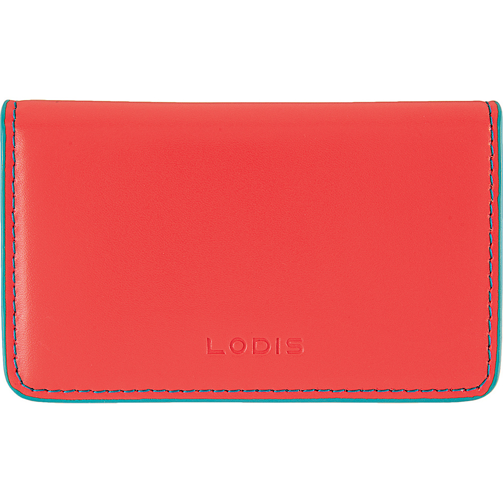 Lodis Audrey Mini Card Case - Discontinued Colors Coral/Turquoise - Lodis Womens SLG Other - Women's SLG, Women's SLG Other