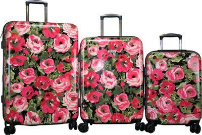 Isaac Mizrahi Inez 3 Piece Hardside Spinner Luggage Set Black - Isaac Mizrahi Luggage Sets