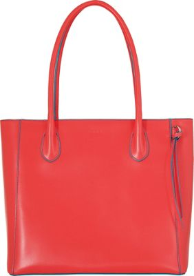 Lodis Audrey Cecily Satchel - Discontinued Colors Coral/Turquoise - Lodis Leather Handbags