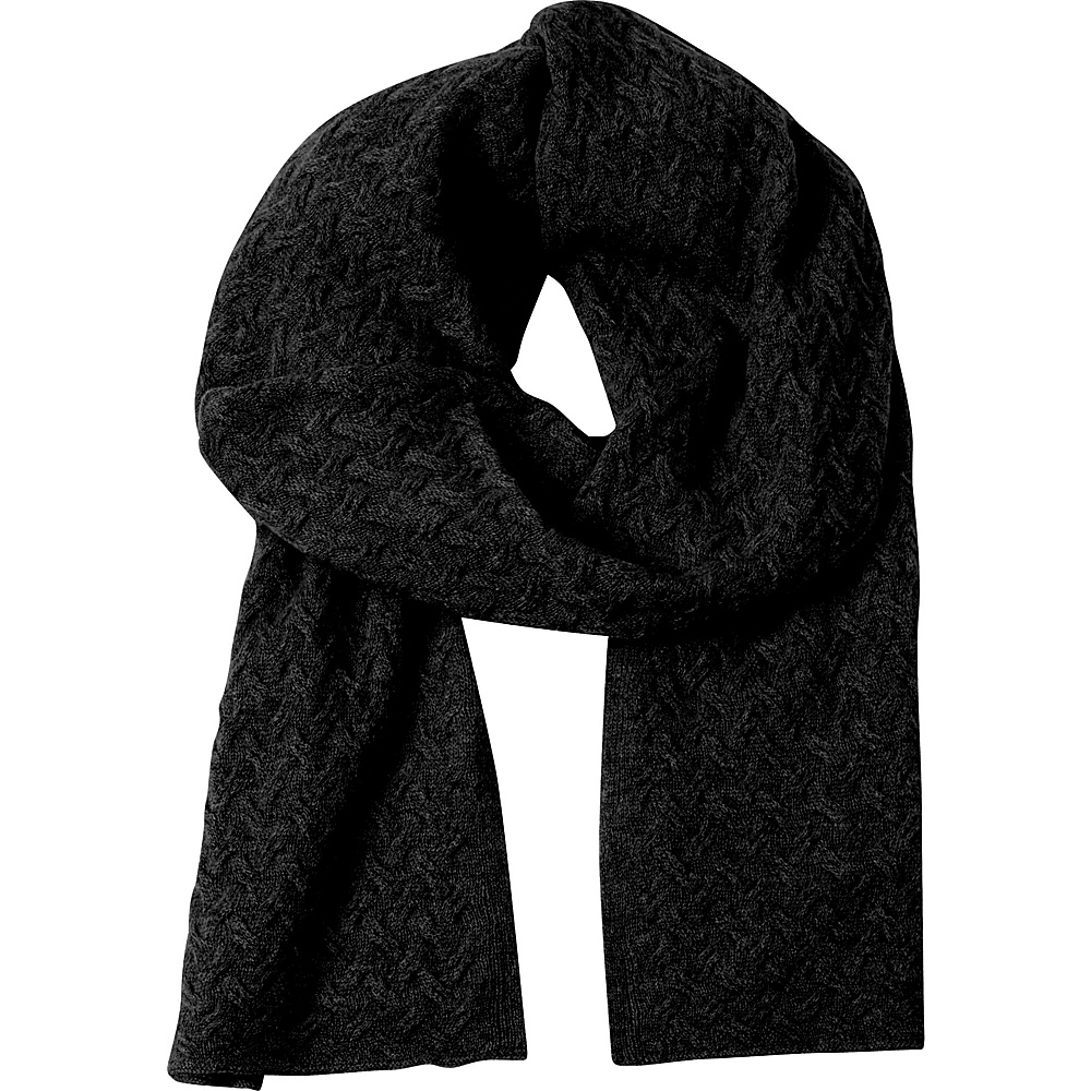 Kinross Cashmere Cable Luxury Scarf Black - Kinross Cashmere Hats/Gloves/Scarves - Fashion Accessories, Hats/Gloves/Scarves