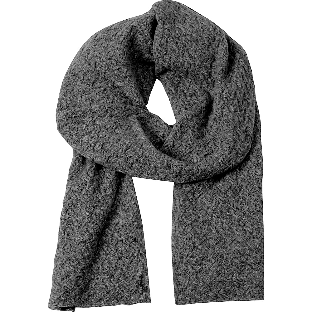 Kinross Cashmere Cable Luxury Scarf Charcoal - Kinross Cashmere Hats/Gloves/Scarves - Fashion Accessories, Hats/Gloves/Scarves