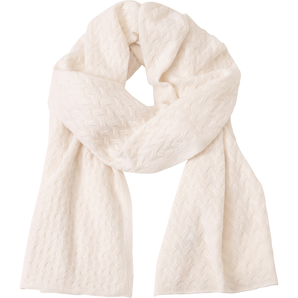 Kinross Cashmere Cable Luxury Scarf Ivory - Kinross Cashmere Hats/Gloves/Scarves - Fashion Accessories, Hats/Gloves/Scarves