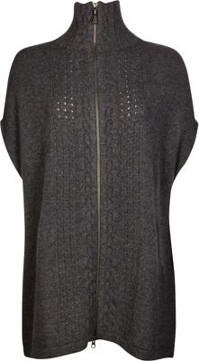 Kinross Cashmere Luxe Cable Zip Poncho M/L - Charcoal - Kinross Cashmere Women's Apparel 10622464