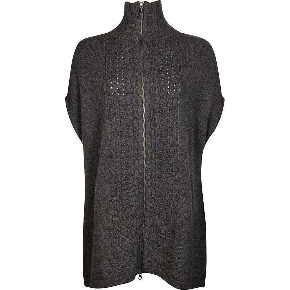 Kinross Cashmere Luxe Cable Zip Poncho M/L - Charcoal - Kinross Cashmere Womens Apparel - Apparel & Footwear, Women's Apparel