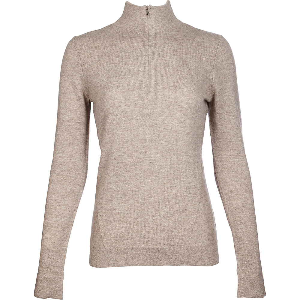 Kinross Cashmere Fitted Zip Mock XL - Antler - Kinross Cashmere Womens Apparel - Apparel & Footwear, Women's Apparel