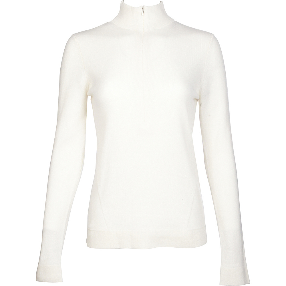 Kinross Cashmere Fitted Zip Mock XS - Ivory - Kinross Cashmere Womens Apparel - Apparel & Footwear, Women's Apparel