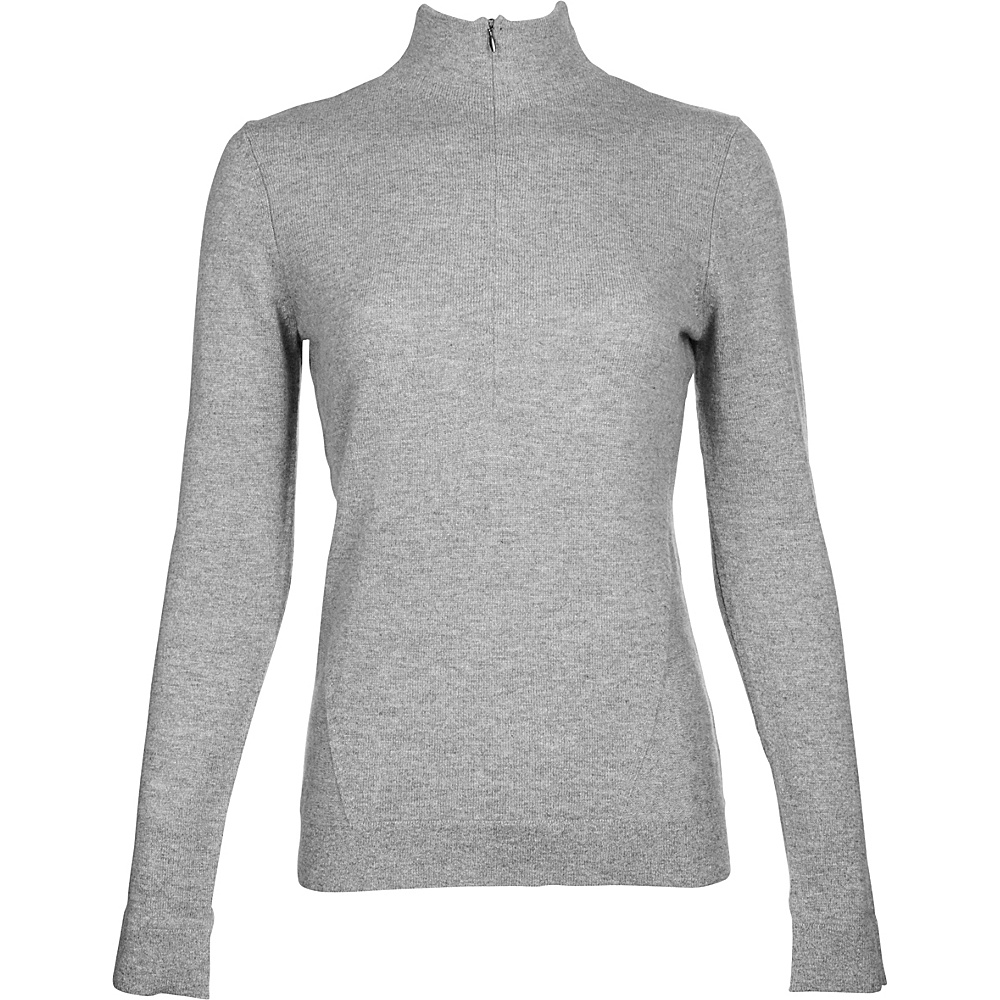 Kinross Cashmere Fitted Zip Mock L - Sterling - Kinross Cashmere Womens Apparel - Apparel & Footwear, Women's Apparel