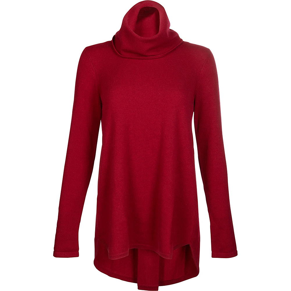 Kinross Cashmere Cowl Pleat Back Tunic S - Vermillion - Kinross Cashmere Womens Apparel - Apparel & Footwear, Women's Apparel