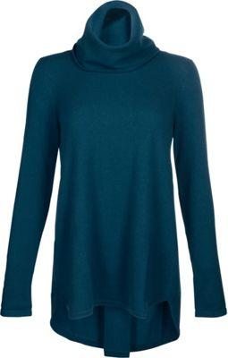 Kinross Cashmere Cowl Pleat Back Tunic XL - Blue Spruce - Kinross Cashmere Women's Apparel