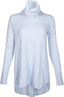Kinross Cashmere Cowl Pleat Back Tunic L - Ciel - Kinross Cashmere Women's Apparel