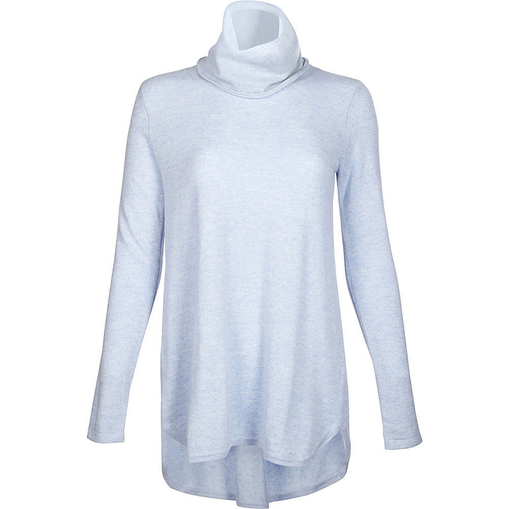 Kinross Cashmere Cowl Pleat Back Tunic L - Ciel - Kinross Cashmere Womens Apparel - Apparel & Footwear, Women's Apparel