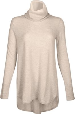 Kinross Cashmere Cowl Pleat Back Tunic XL - Fawn - Kinross Cashmere Women's Apparel