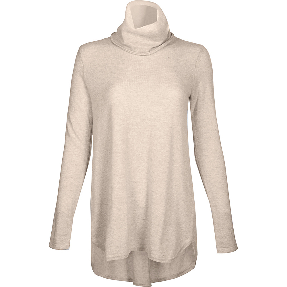 Kinross Cashmere Cowl Pleat Back Tunic M - Fawn - Kinross Cashmere Womens Apparel - Apparel & Footwear, Women's Apparel