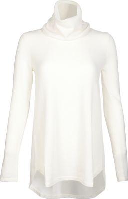 Kinross Cashmere Cowl Pleat Back Tunic S - Ivory - Kinross Cashmere Women's Apparel