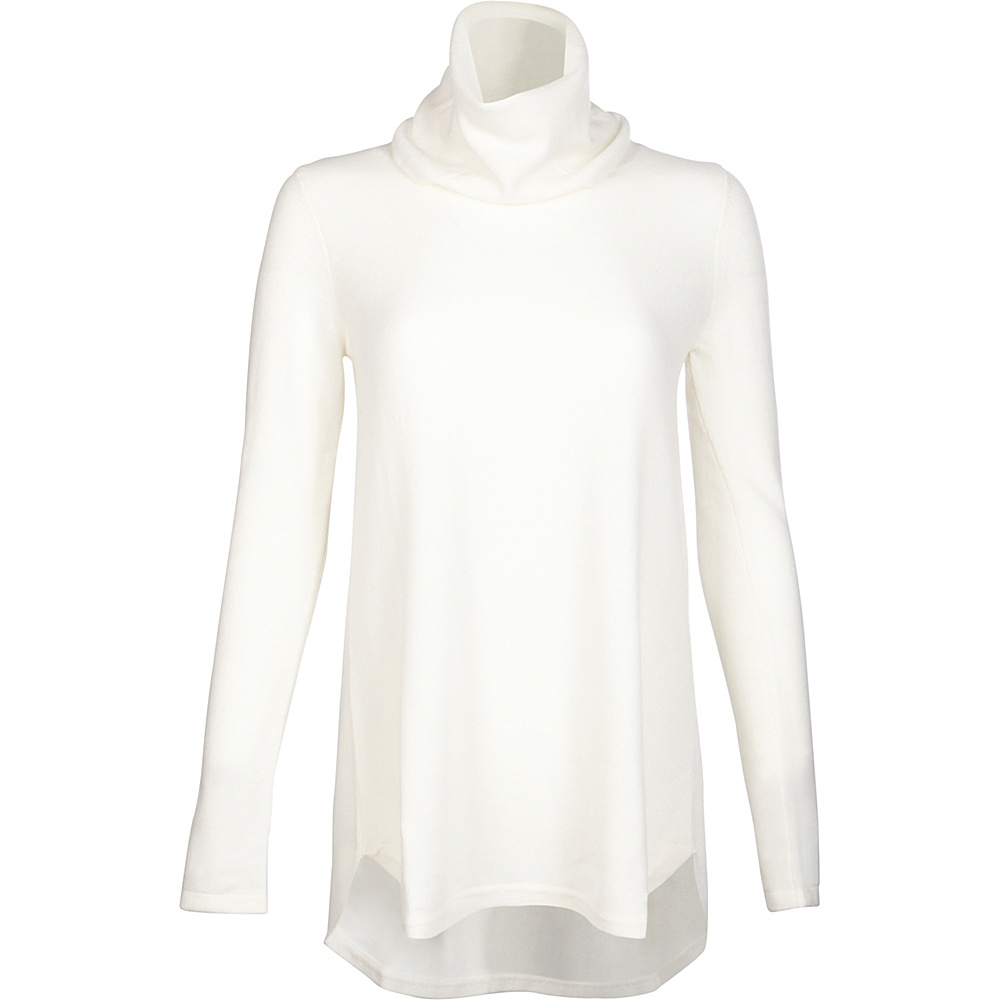 Kinross Cashmere Cowl Pleat Back Tunic XL - Ivory - Kinross Cashmere Womens Apparel - Apparel & Footwear, Women's Apparel