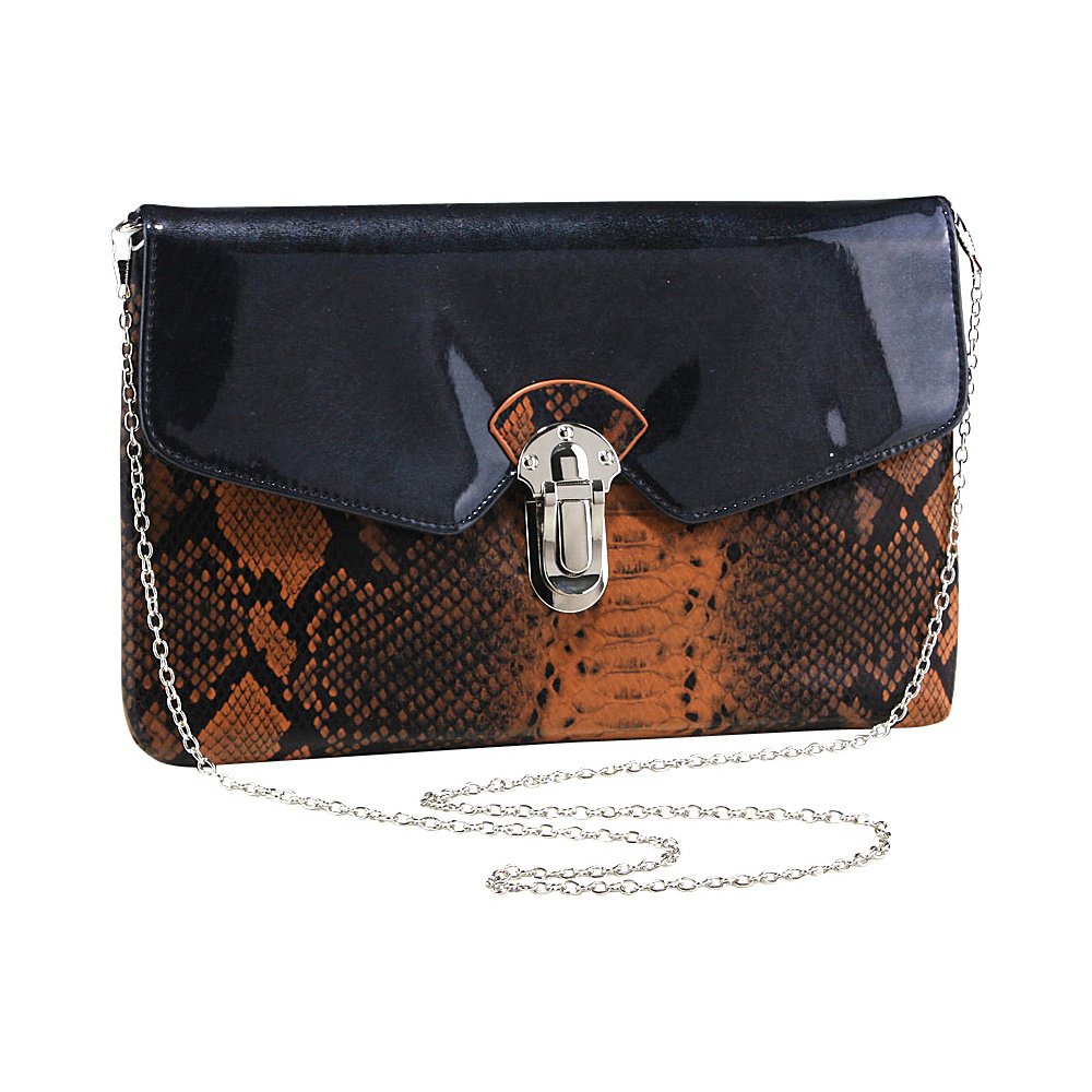 Dasein Womens Snakeskin Faux Leather Fashion Clutch with Chain Strap Pumpkin - Dasein Evening Bags - Handbags, Evening Bags