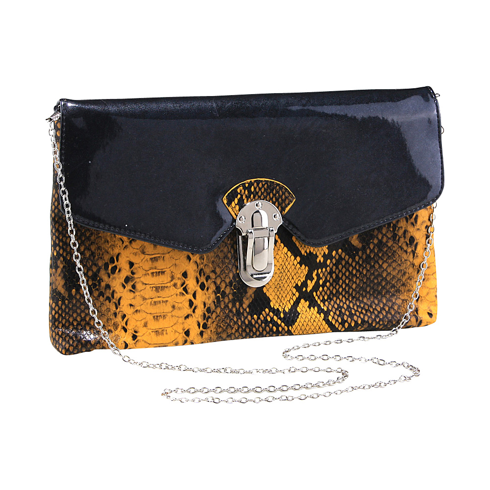 Dasein Womens Snakeskin Faux Leather Fashion Clutch with Chain Strap Yellow - Dasein Evening Bags - Handbags, Evening Bags
