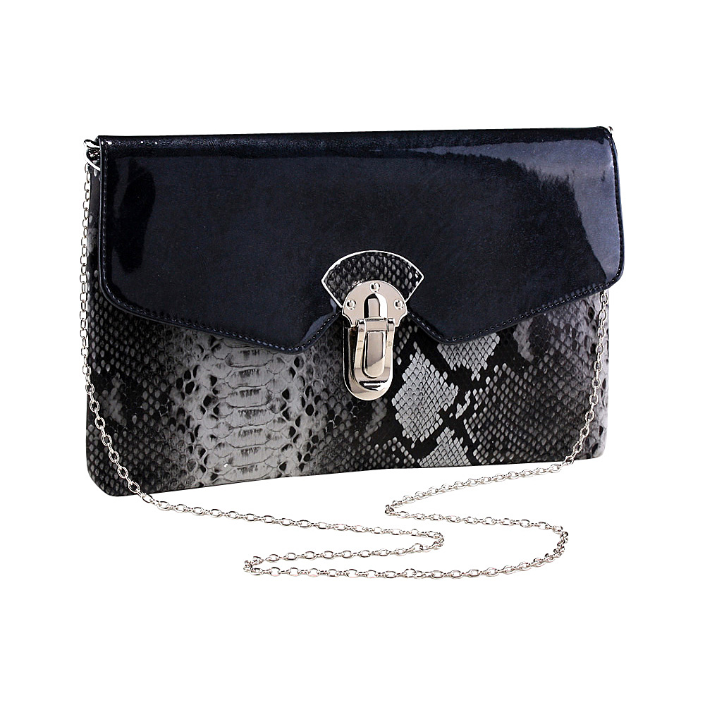 Dasein Womens Snakeskin Faux Leather Fashion Clutch with Chain Strap Grey - Dasein Evening Bags - Handbags, Evening Bags