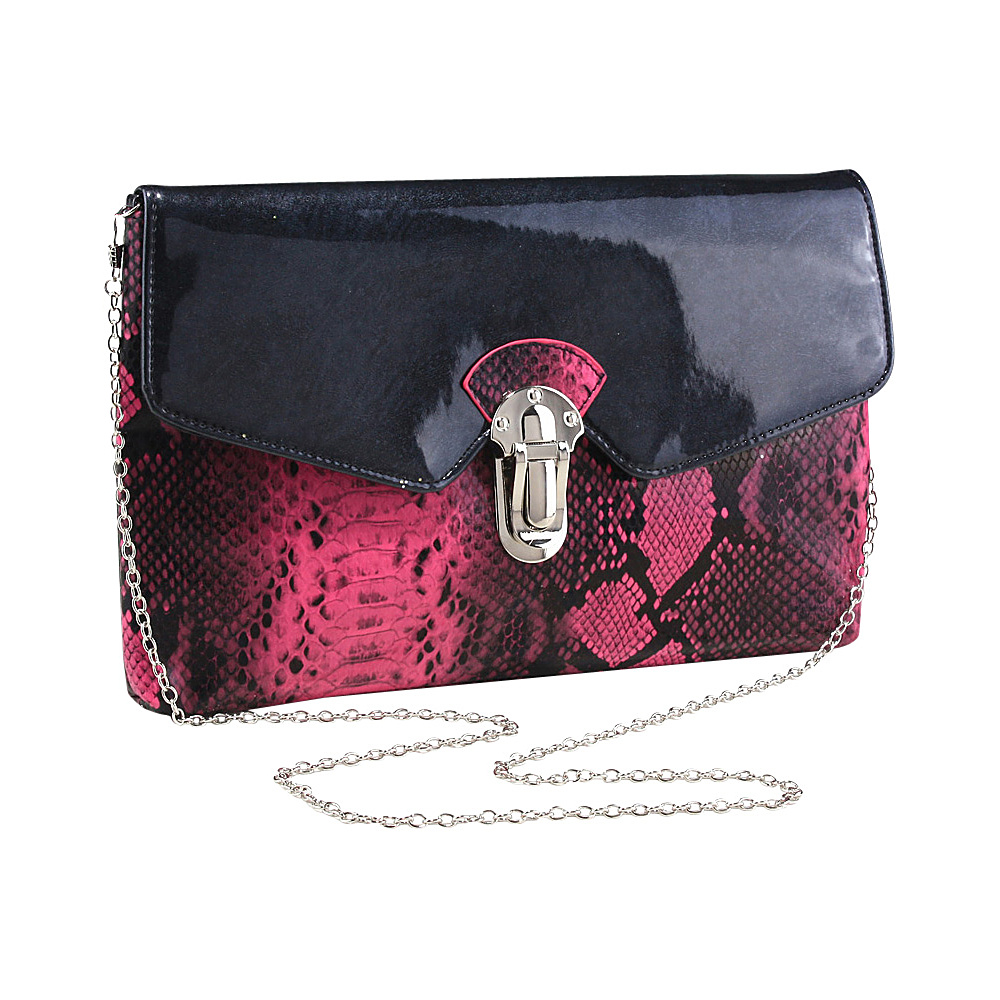 Dasein Womens Snakeskin Faux Leather Fashion Clutch with Chain Strap Fuchsia - Dasein Evening Bags - Handbags, Evening Bags