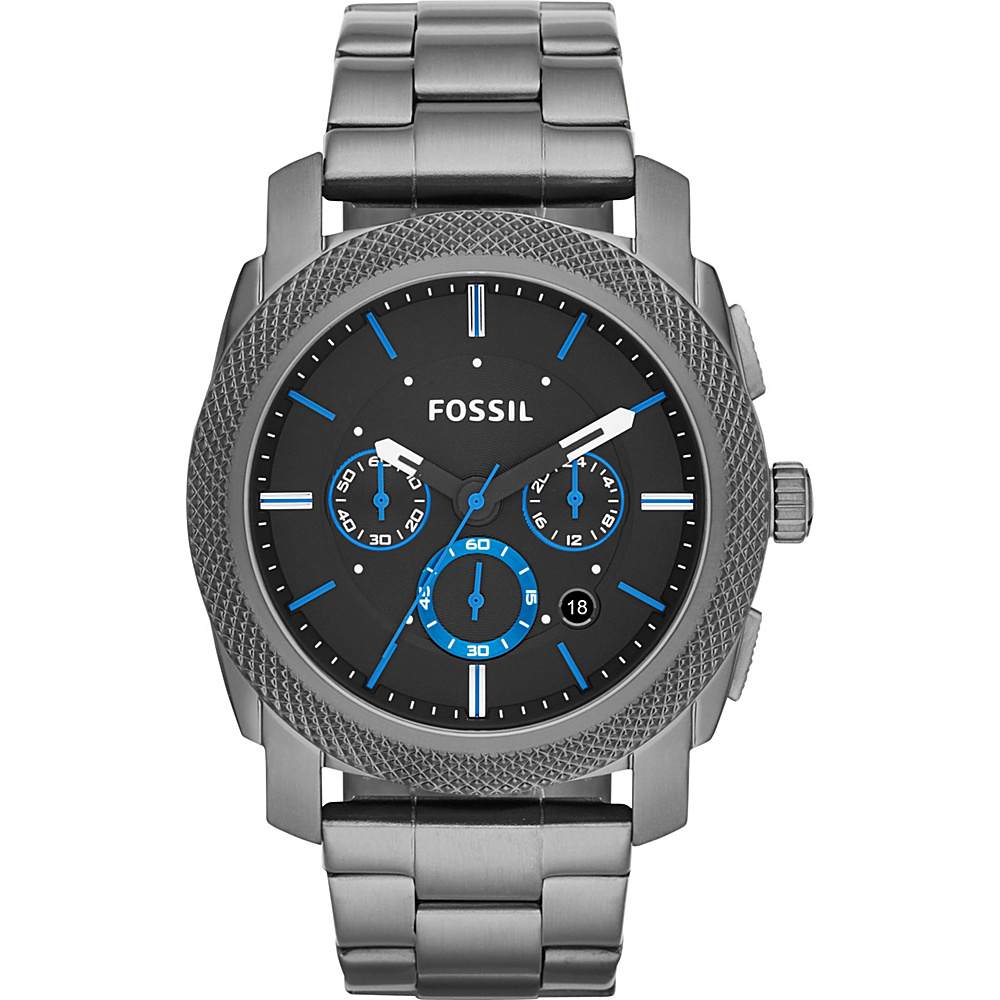 Fossil Machine Chronograph Smoke Stainless Steel Watch Black - Fossil Watches - Fashion Accessories, Watches