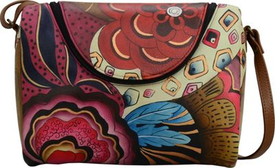 ANNA by Anuschka Hand Painted Leather Medium Crossbody Tribal Potpourri - ANNA by Anuschka Leather Handbags