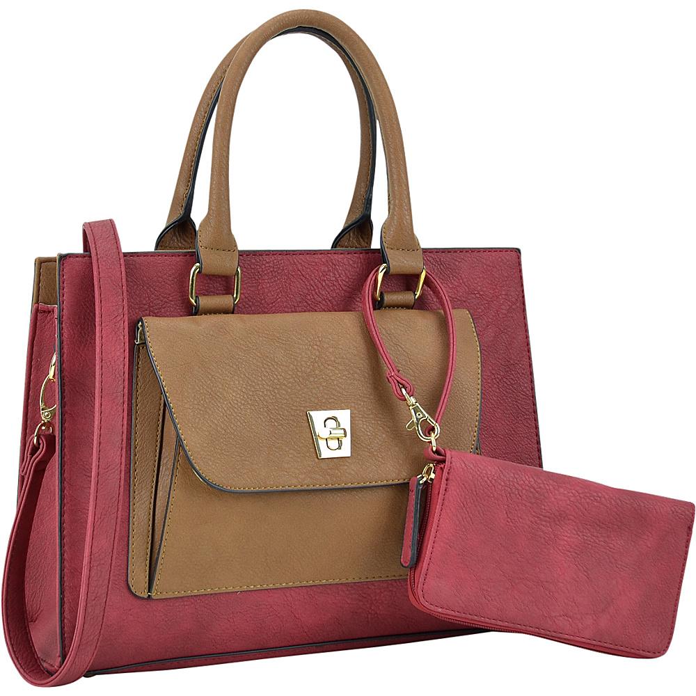 Dasein Front Twist Lock Pocket Satchel with Matching Wallet Burgundy - Dasein Manmade Handbags - Handbags, Manmade Handbags