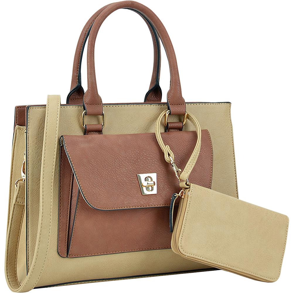 Dasein Front Twist Lock Pocket Satchel with Matching Wallet Beige - Dasein Manmade Handbags - Handbags, Manmade Handbags