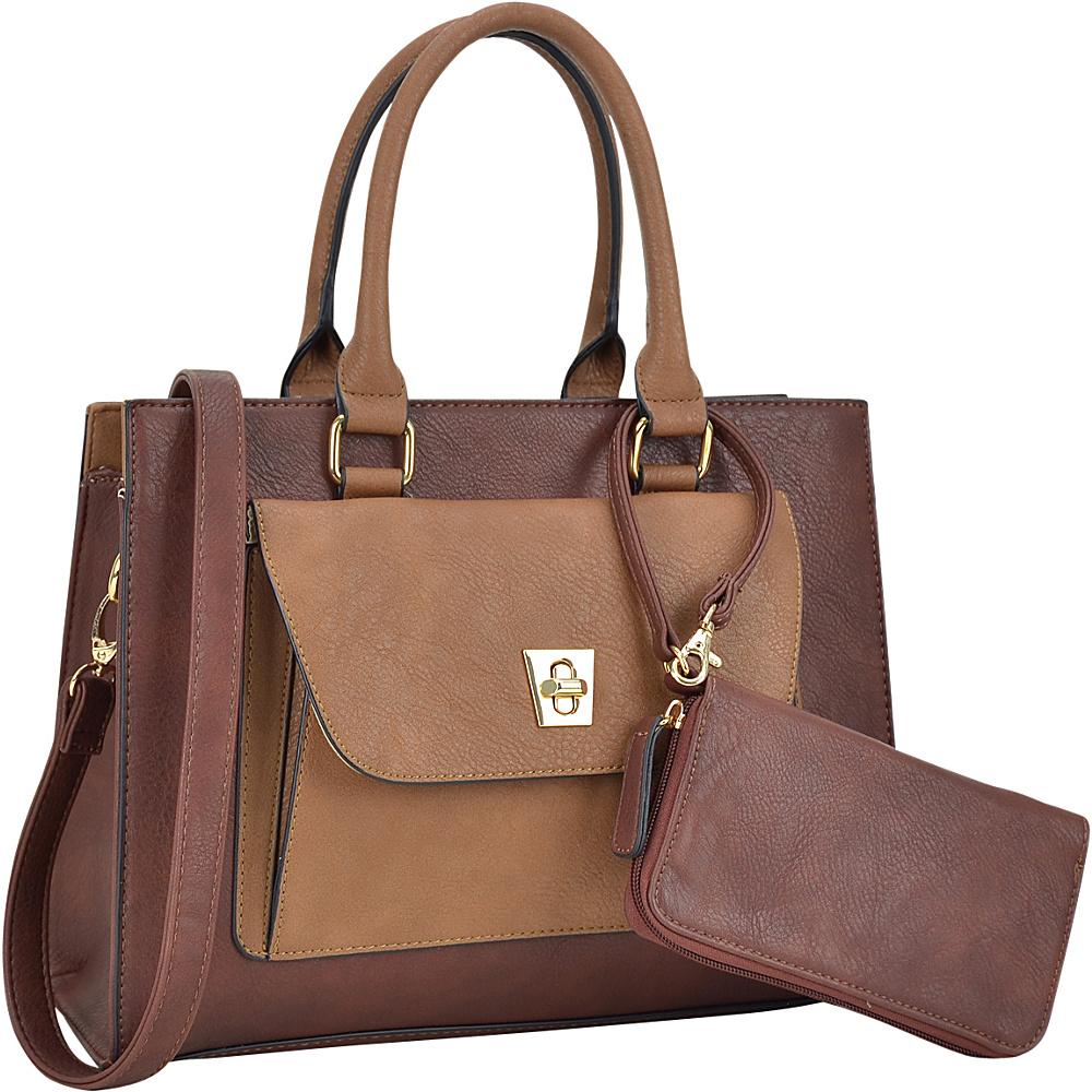 Dasein Front Twist Lock Pocket Satchel with Matching Wallet Coffee - Dasein Manmade Handbags - Handbags, Manmade Handbags