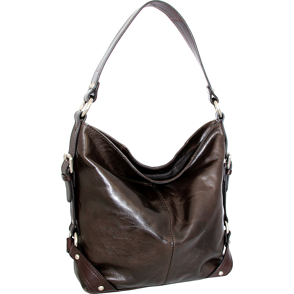 Nino Bossi Genna Shoulder Bag Chocolate - Nino Bossi Leather Handbags - Handbags, Leather Handbags