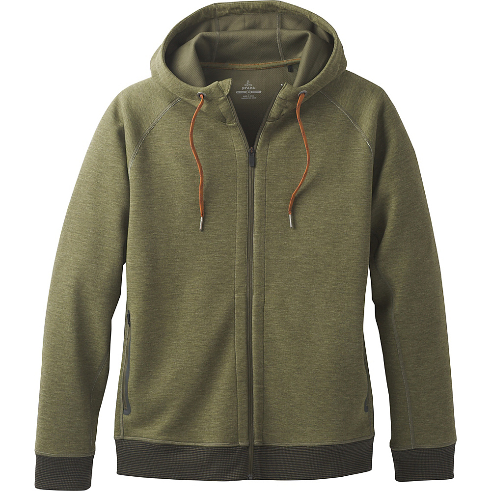 PrAna Halgren Urban Full Zip Hoodie M - Cargo Green Heather - PrAna Mens Apparel - Apparel & Footwear, Men's Apparel