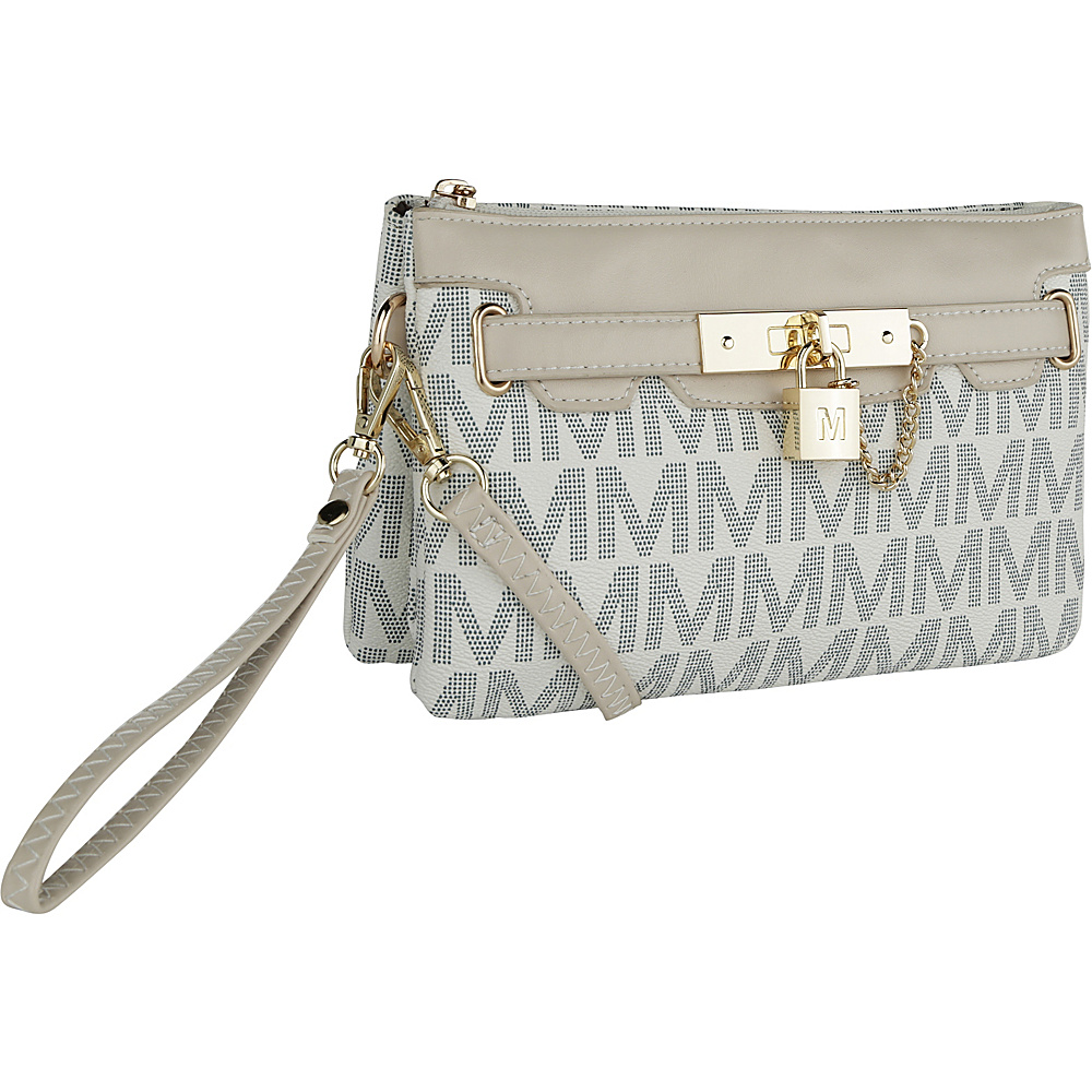 MKF Collection by Mia K. Farrow Carissa M Signature Crossbody Wristlet White - MKF Collection by Mia K. Farrow Manmade Handbags - Handbags, Manmade Handbags