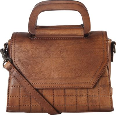 Diophy Quilted Medium Shoulder Bag Brown - Diophy Leather Handbags
