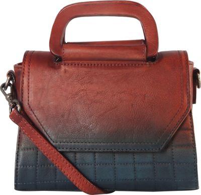 Diophy Quilted Medium Shoulder Bag Red/Blue - Diophy Leather Handbags