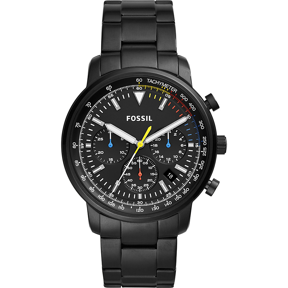 Fossil Goodwin Chronograph Black Stainless Steel Watch Black - Fossil Watches - Fashion Accessories, Watches