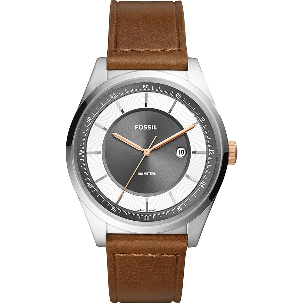Fossil Mathis Three-Hand Date Light Brown Leather Watch Brown - Fossil Watches - Fashion Accessories, Watches