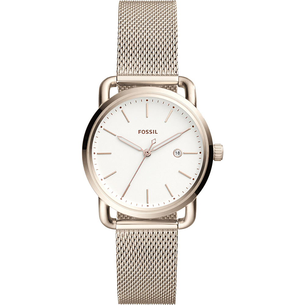 Fossil The Commuter Three-Hand Date Stainless Steel Watch Pink - Fossil Watches - Fashion Accessories, Watches