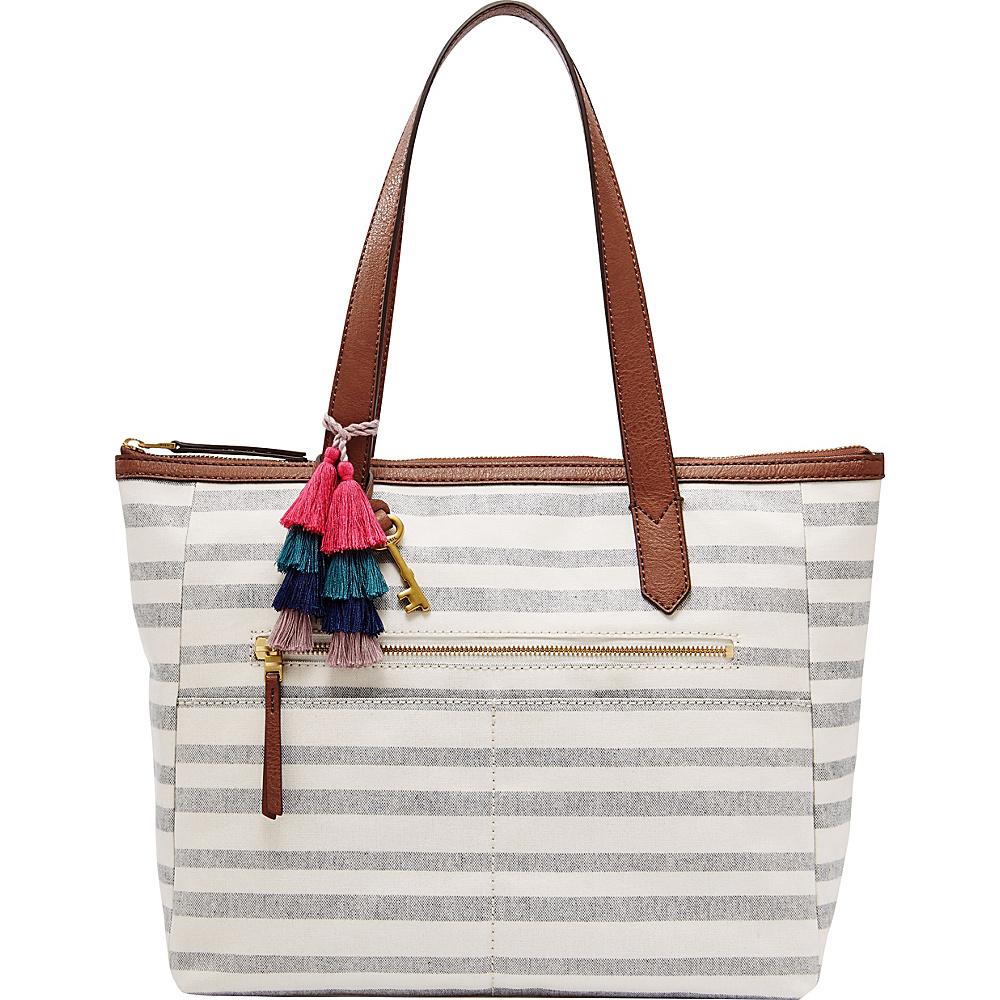 Fossil Fiona EW Tote Blue Stripe - Fossil Fabric Handbags - Handbags, Fabric Handbags
