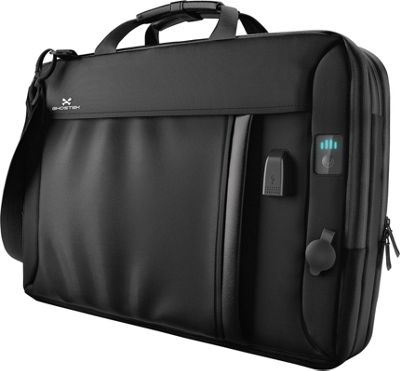 Ghostek NRGmessenger Charging Laptop Messenger Tech Bag Black - Ghostek Non-Wheeled Business Cases
