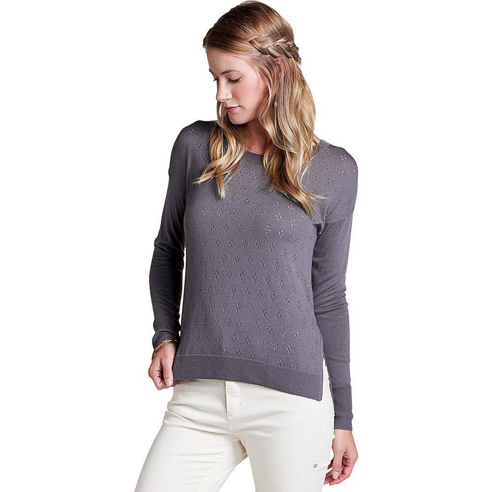 Toad & Co Womens Cambria Pointelle Crew S - Smoke - Toad & Co Womens Apparel - Apparel & Footwear, Women's Apparel