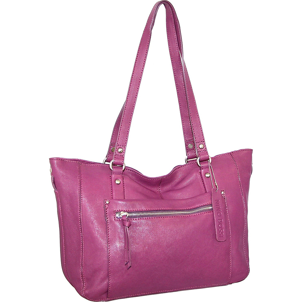 Nino Bossi Mya Tote Plum - Nino Bossi Leather Handbags - Handbags, Leather Handbags