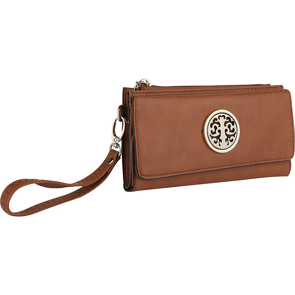 MKF Collection by Mia K. Farrow Audrina Tri-Fold Wristlet Cognac Brown - MKF Collection by Mia K. Farrow Womens Wallets - Women's SLG, Women's Wallets
