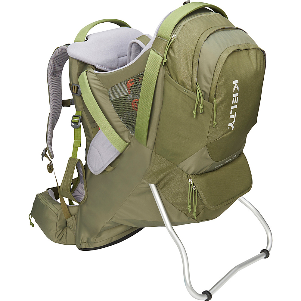 Kelty Journey PerfectFit Elite Backpack Child Carrier Moss Green - Kelty Baby Carriers Journey PerfectFit Elite Backpack Child Carrier Moss Green. Completely redesigned for 2018 with feedback from parents around the country, the new Kelty Child carriers offer best in class features and comfort. Developed with a pediatric specialist, our 5-point safety harness features a wide seat base and adjustable foot stirrups to offer proper positioning of the childs legs for health and all-day comfort.
