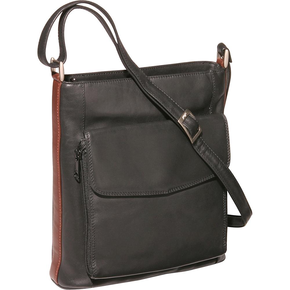 Derek Alexander N/S Top Zip Organizer - Black/Brandy - Handbags, Leather Handbags