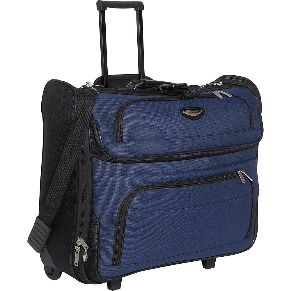Traveler's Choice Amsterdam Rolling Garment Bag Navy - Traveler's Choice Garment Bags