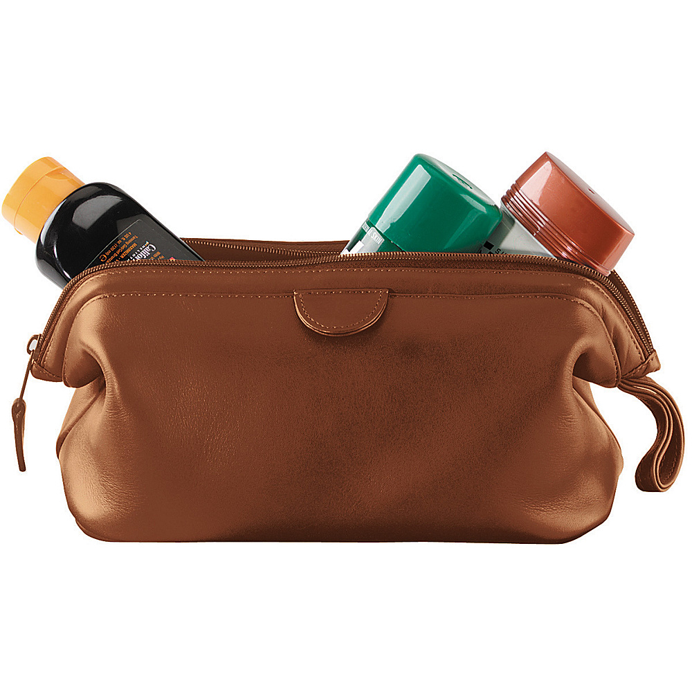 Royce Leather Leather Toiletry Bag - Tan - Travel Accessories, Toiletry Kits