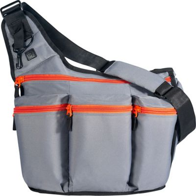 Diaper Dude Charcoal Diaper Bag with Orange Zippers
