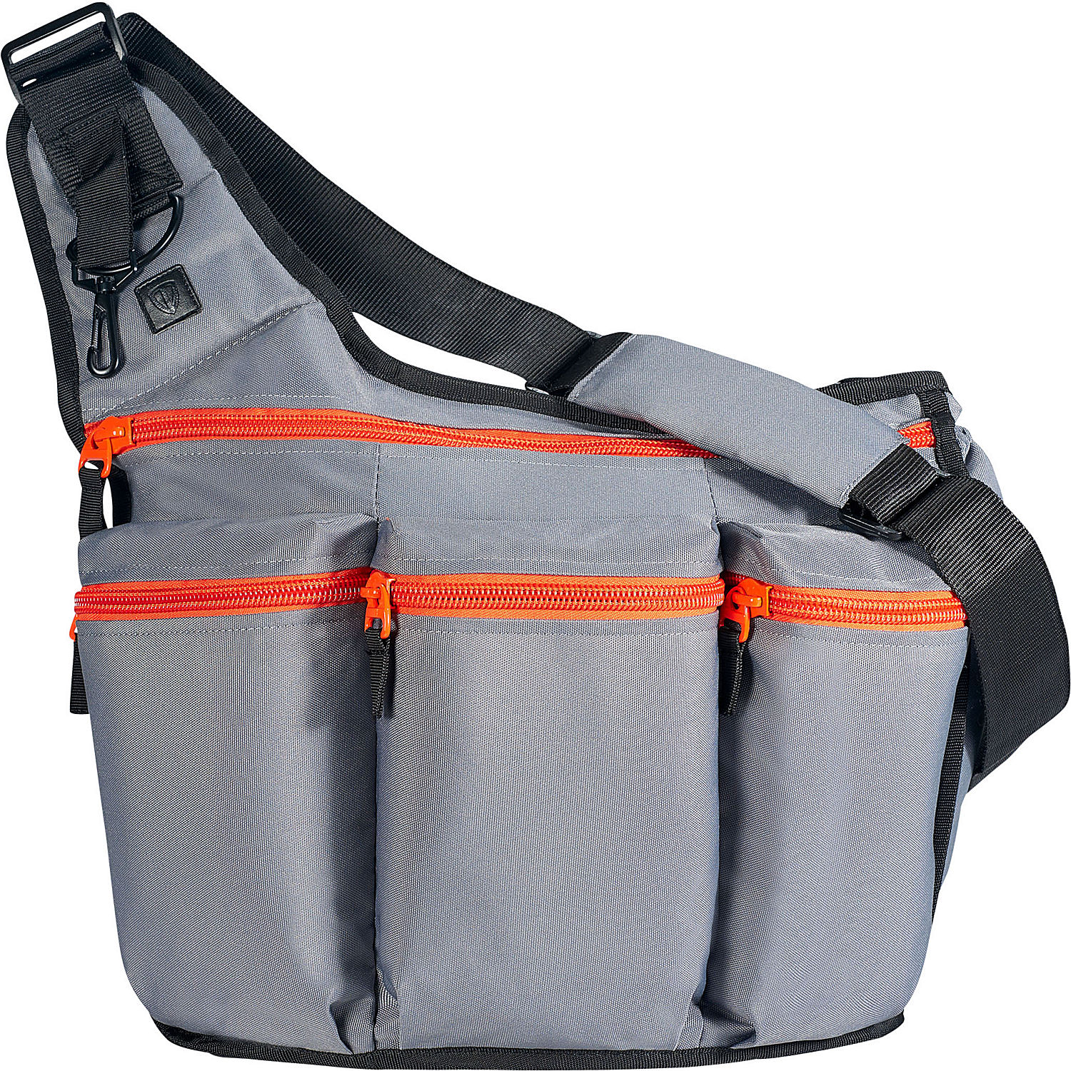 diaper dude charcoal diaper bag with orange zippers. Black Bedroom Furniture Sets. Home Design Ideas