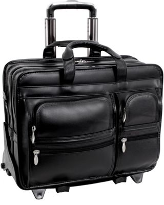 Image of 17 Leather Detachable Laptop Case on Wheels - Black