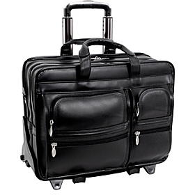 Clinton Leather Wheeled 17'' Laptop Case Black